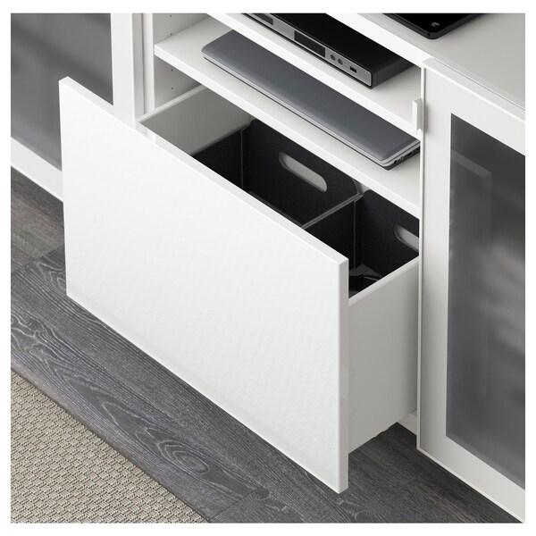 BESTÅ Mobile TV, bianco/Selsviken lucido/vetro smerigliato bianco, 180x40x74 cm