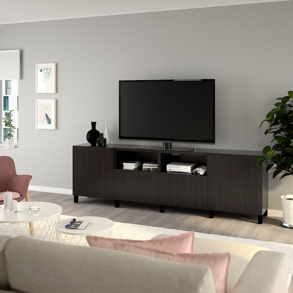 BESTÅ Mobile TV con ante e cassetti, marrone-nero/Lappviken/Stubbarp marrone-nero, 240x42x74 cm