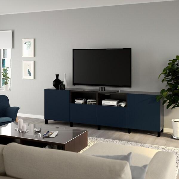 BESTÅ Mobile TV con ante e cassetti, marrone-nero/Notviken/Stubbarp blu, 240x42x74 cm