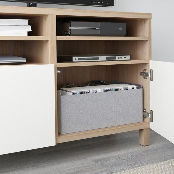 BESTÅ Mobile TV con ante, effetto rovere mordente bianco/Lappviken/Stubbarp bianco, 120x42x74 cm