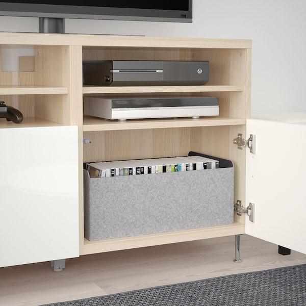 BESTÅ Mobile TV con ante, effetto rovere mordente bianco/Selsviken/Stallarp lucido/bianco, 120x42x74 cm
