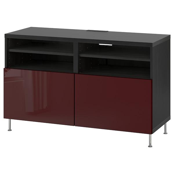BESTÅ Mobile TV con ante, marrone-nero Selsviken/Stallarp/lucido color mogano, 120x42x74 cm