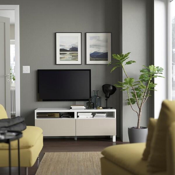 BESTÅ Mobile TV con cassetti, bianco/Lappviken/Stubbarp grigio chiaro/beige, 120x42x48 cm