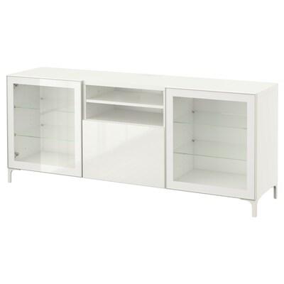BESTÅ Mobile TV con cassetti, bianco/Selsviken lucido/vetro trasparente bianco, 180x40x74 cm