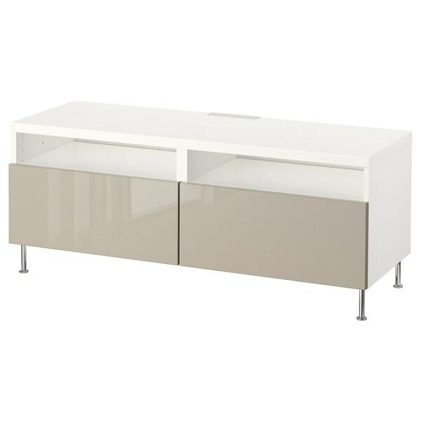BESTÅ Mobile TV con cassetti, bianco/Selsviken/Stallarp lucido/beige, 120x42x48 cm