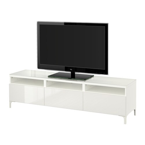 BESTÅ Mobile TV con cassetti - bianco/Selsviken lucido ...