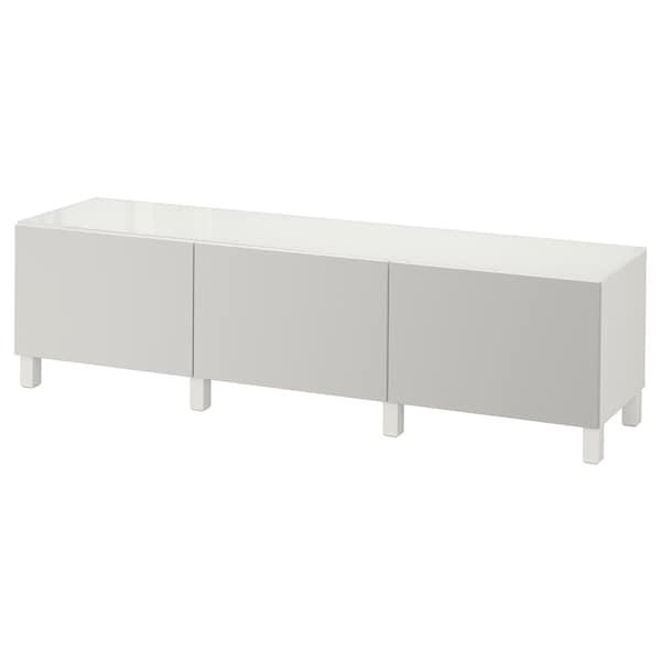 BESTÅ Mobili con cassetti, bianco/Lappviken grigio chiaro, 180x40x48 cm