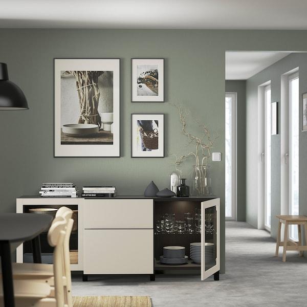 BESTÅ Mobili con cassetti, marrone-nero Lappviken/Stubbarp/grigio chiaro-beige vetro trasparente, 180x42x74 cm