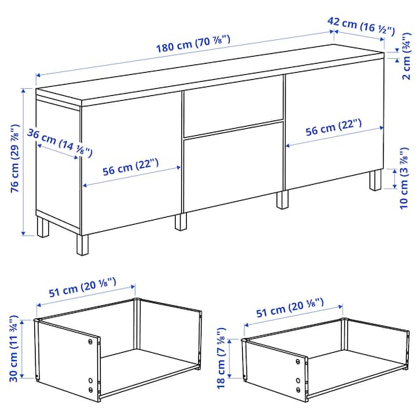 BESTÅ Mobili con cassetti, Sindvik bianco/Lappviken/Stubbarp bianco, 180x42x76 cm