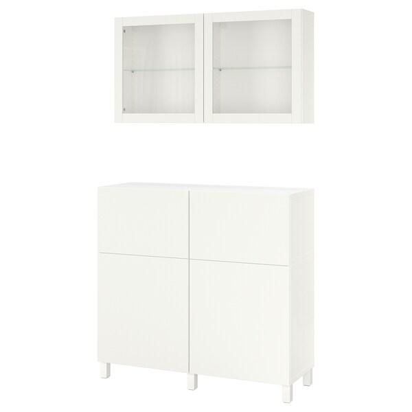 BESTÅ combinazione + ante/cassetti bianco/Lappviken/Stubbarp vetro trasparente bianco 120 cm 42 cm 240 cm