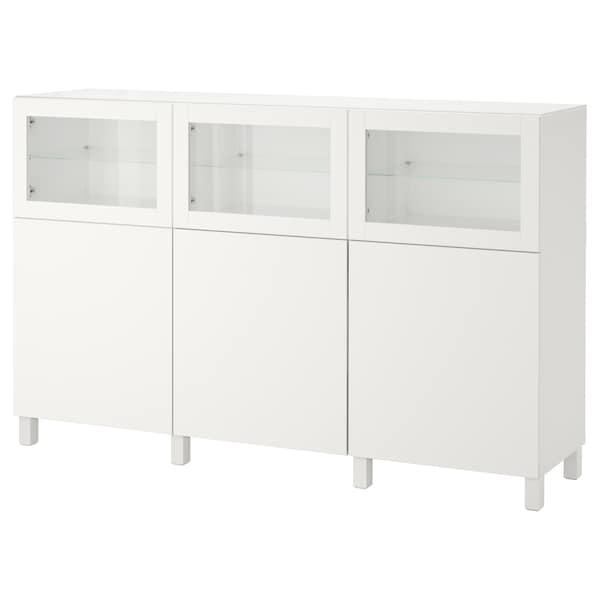 BESTÅ mobile con ante bianco Lappviken/Sindvik vetro trasparente bianco 180 cm 40 cm 112 cm