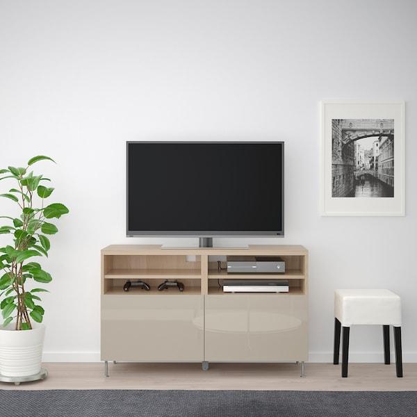 BESTÅ mobile TV con ante effetto rovere mordente bianco/Selsviken/Stallarp lucido/beige 120 cm 42 cm 74 cm 50 kg