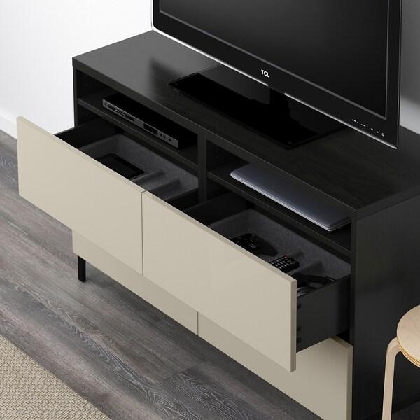 BESTÅ mobile TV con cassetti marrone-nero/Selsviken lucido/beige 120 cm 40 cm 74 cm 50 kg