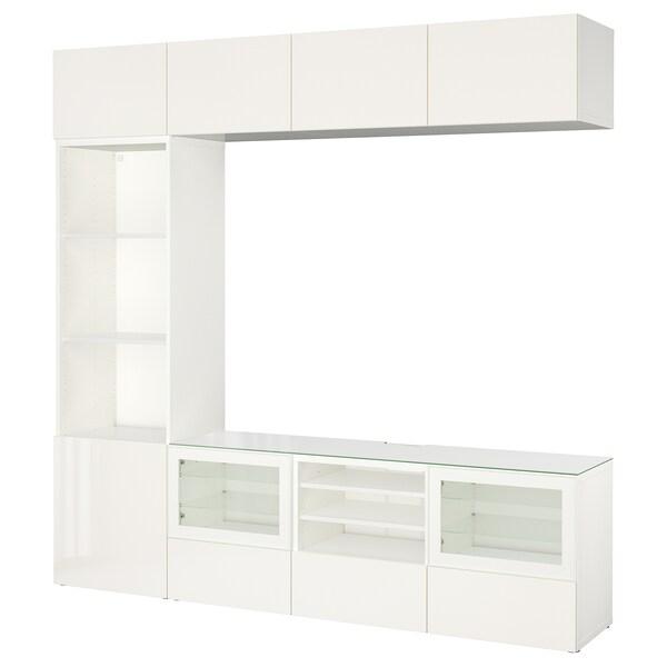 BESTÅ combinazione TV/ante a vetro bianco/Selsviken lucido/vetro trasparente bianco 240 cm 40 cm 230 cm