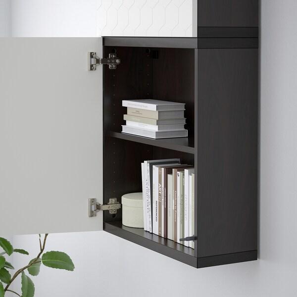 BESTÅ pensile con 2 ante marrone-nero/Vassviken bianco 60 cm 20 cm 128 cm