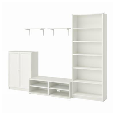 BILLY / BESTÅ Combinazione per TV, bianco, 280x40x202 cm