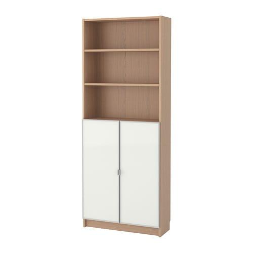 Libreria Ikea Con Ante In Vetro.Billy Morliden Libreria Con Ante A Vetro Impiallacciato Rovere Mord Bianco Vetro