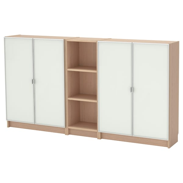 BILLY / MORLIDEN Libreria, impiallacciato rovere mord bianco, 200x30x106 cm