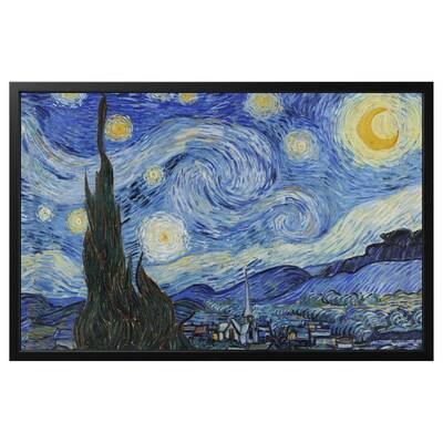 BJÖRKSTA Canvas con cornice, Notte stellata/nero, 118x78 cm