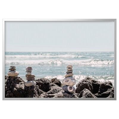 BJÖRKSTA Canvas con cornice, Pietra decorativa/color alluminio, 140x100 cm