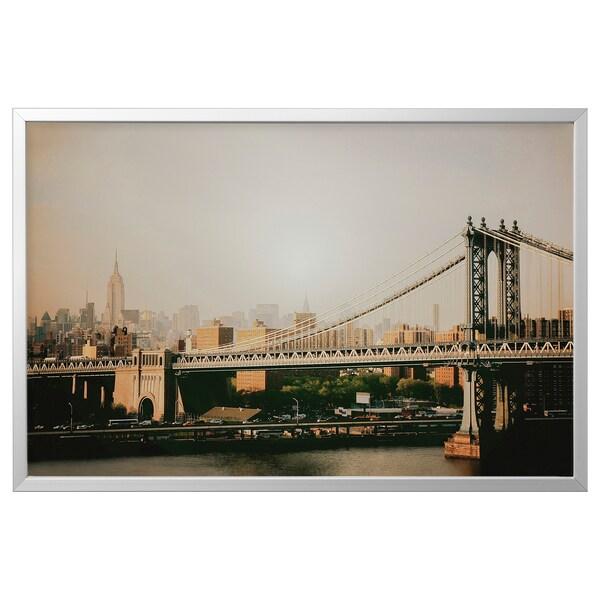 BJÖRKSTA Canvas con cornice, Ponte di Manhattan/color alluminio, 118x78 cm
