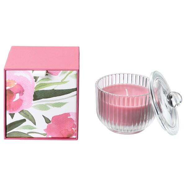 BLOMDOFT Candela profumata con vetro, peonia/rosa, 9 cm