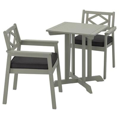 BONDHOLMEN Tavolo+2 sedie braccioli, giardino, mordente grigio/Järpön/Duvholmen antracite