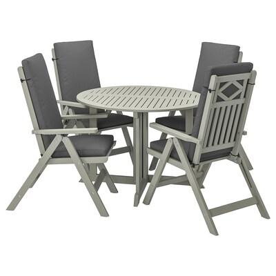 BONDHOLMEN Tavolo+4 sedie relax, da giardino, mordente grigio/Frösön/Duvholmen grigio scuro