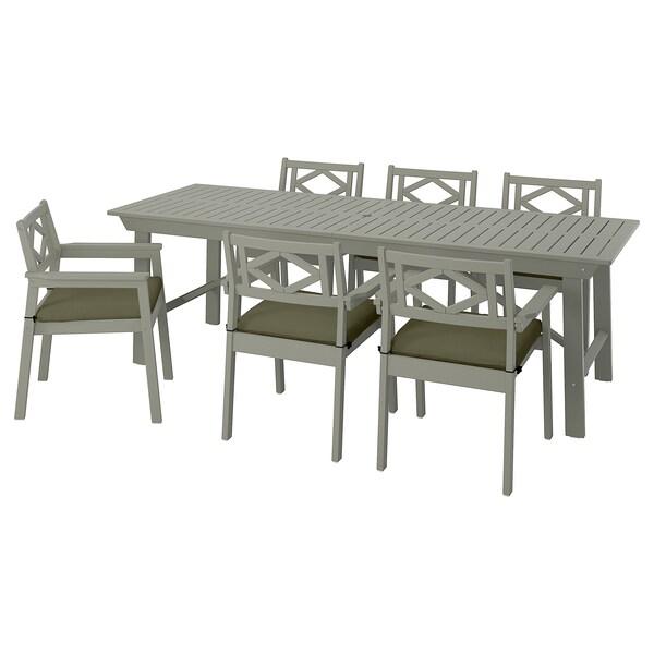 BONDHOLMEN Tavolo+6 sedie braccioli, giardino