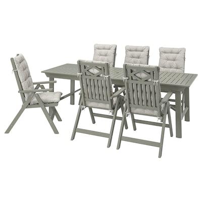 BONDHOLMEN Tavolo+6 sedie relax, da giardino, mordente grigio/Kuddarna grigio