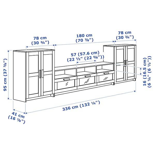 BRIMNES Combinazione per TV, bianco, 336x41x95 cm