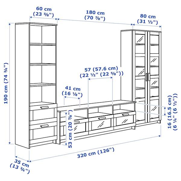 BRIMNES Combinazione TV/ante a vetro, bianco, 320x41x190 cm