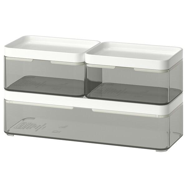 BROGRUND Set di 3 contenitori, grigio trasparente/bianco