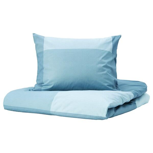 BRUNKRISSLA Copripiumino e 2 federe, azzurro, 240x220/50x60 cm