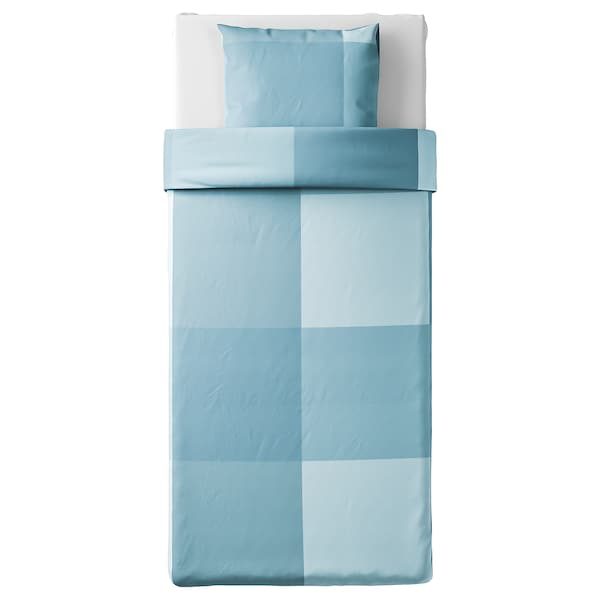 BRUNKRISSLA Copripiumino e federa, azzurro, 150x200/50x60 cm