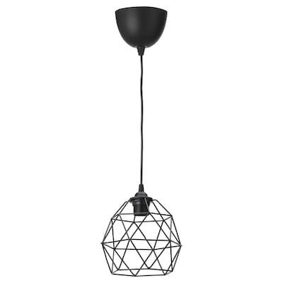 BRUNSTA / HEMMA Lampada a sospensione, nero, 20 cm