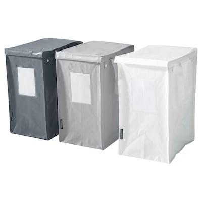 DIMPA borsa per raccolta differenziata bianco/grigio scuro/grigio chiaro 22 cm 35 cm 45 cm 15 kg 35 l 3 pezzi