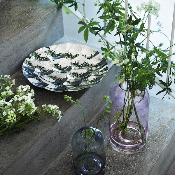 DRÖMSK Vaso, grigio, 18 cm