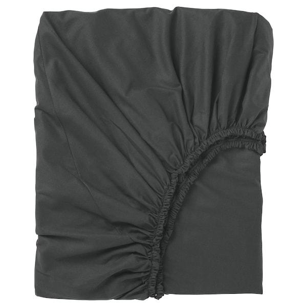 DVALA Lenzuolo con angoli, nero, 180x200 cm