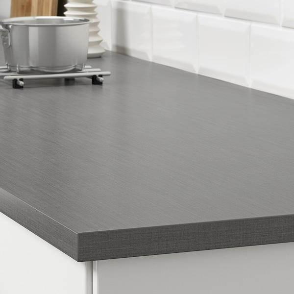 EKBACKEN Piano di lavoro su misura, grigio scuro effetto lino/laminato, 45.1-63.5x2.8 cm