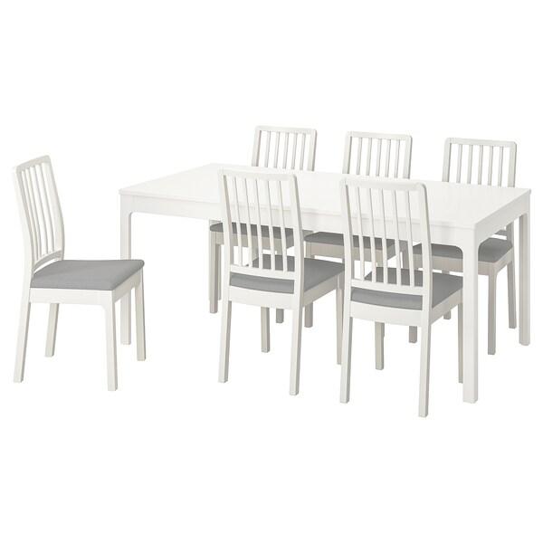 Ekedalen Tavolo E 6 Sedie Bianco Orrsta Grigio Chiaro Ikea Svizzera
