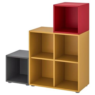 EKET combinazione di mobili con piedini grigio scuro ocra bruna/rosso 70 cm 105 cm 35 cm 107 cm