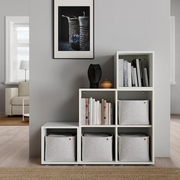 EKET Combinazione di mobili con piedini, bianco, 105x35x107 cm