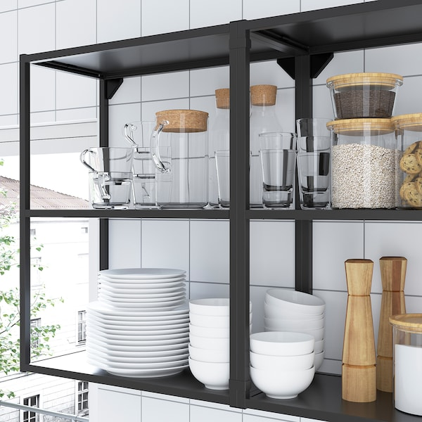 ENHET Cucina, antracite/effetto cemento, 203x63.5x222 cm