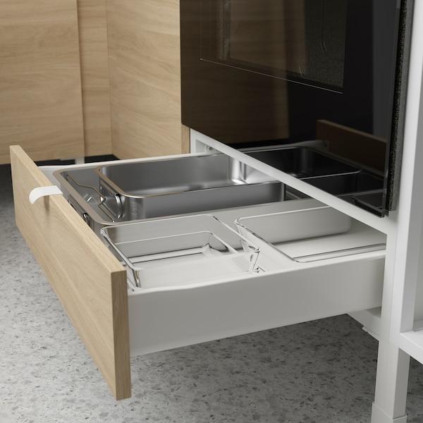 ENHET Cucina, bianco/effetto rovere, 183x63.5x222 cm