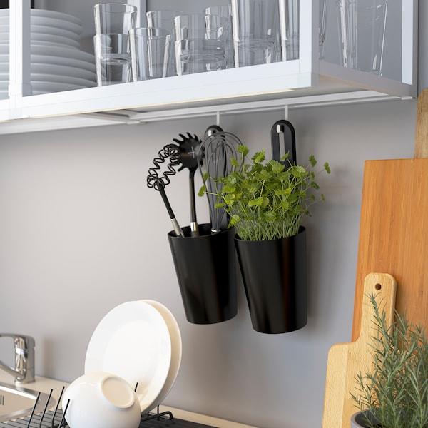ENHET Cucina, bianco/grigio cornice, 163x63.5x222 cm