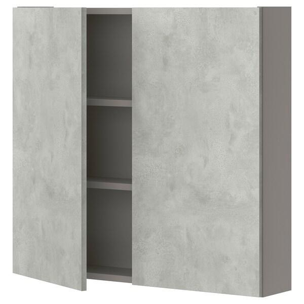 ENHET Pensile con 2 ripiani/ante, grigio/effetto cemento, 80x15x75 cm