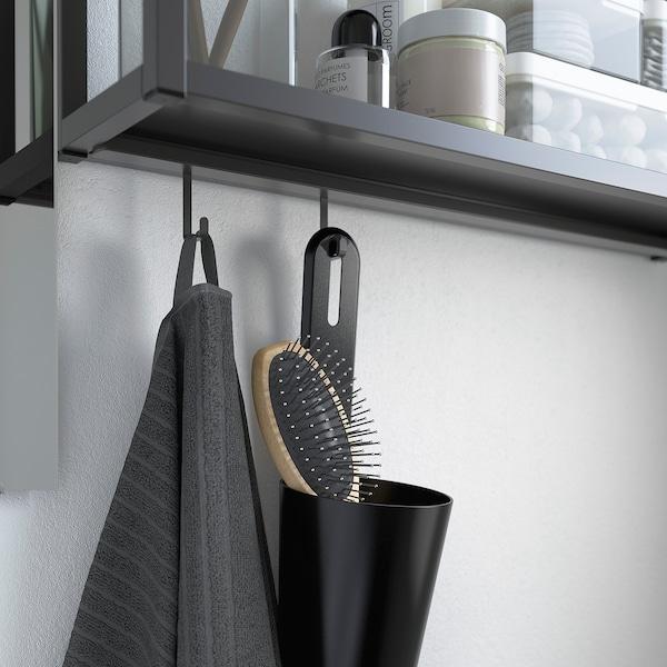 ENHET / TVÄLLEN Set arredo bagno, 10 pezzi, bianco/antracite Miscel Pilkån, 44x43x87 cm