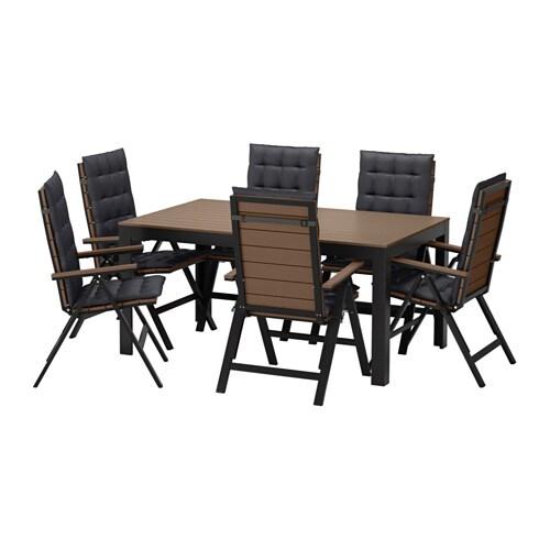 Falster tavolo 6 sedie relax da giardino falster nero for Sedie da giardino ikea