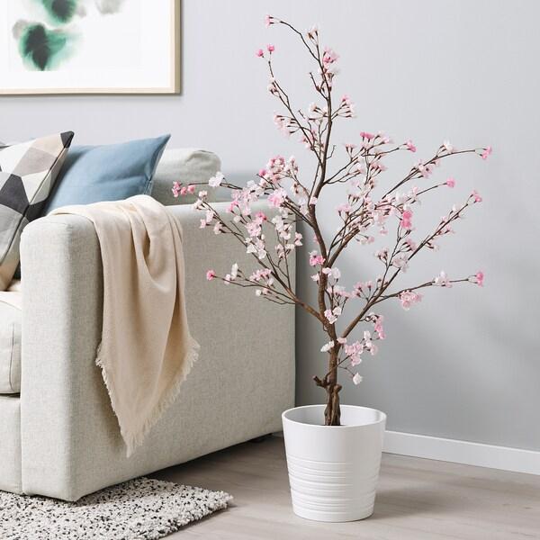 FEJKA Pianta artificiale con vaso, da interno/esterno/fiori di ciliegio rosa, 15 cm